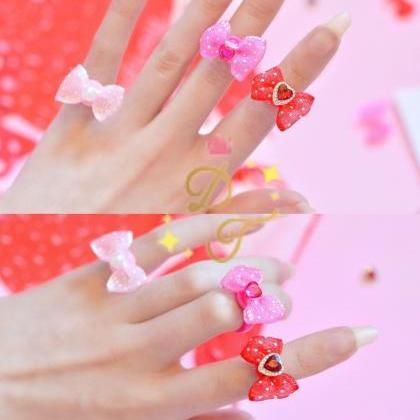 Dotty Ribbon Lolita Midi Pinky Ring