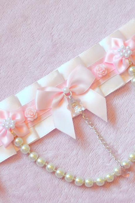 Sakura Pearl Bow Collar Choker lolita necklace
