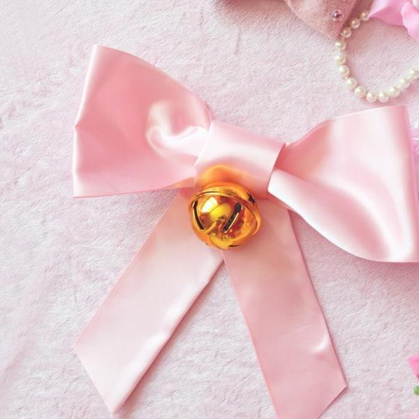 Extra Large Satin Baby Pink Back Hair Bow Barrette Clip With Bell